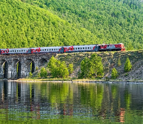 A train going along the Trans-Siberian railway