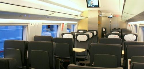 Seats location in business class of high-speed train Sapsan