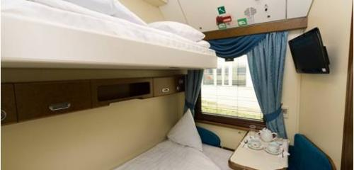 Standard 1st class compartment on international trains is with one lower and one upper bunk beds