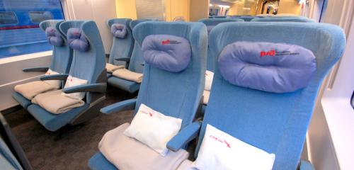 Seats in Economy + car on board Sapsan train have textile coverings